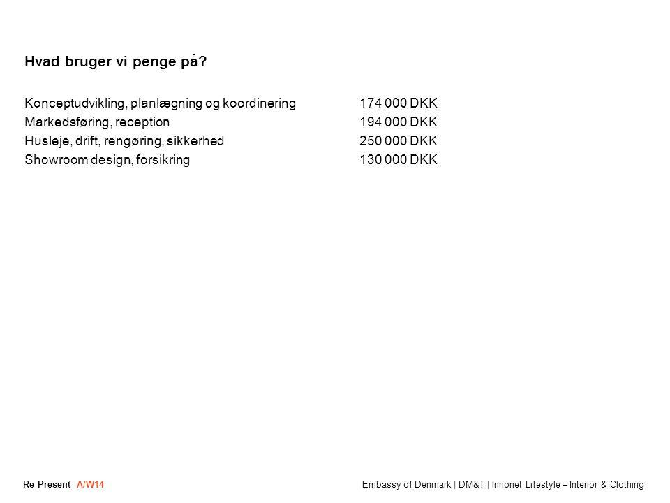 Hvad bruger vi penge på Konceptudvikling, planlægning og koordinering 174 000 DKK. Markedsføring, reception 194 000 DKK.