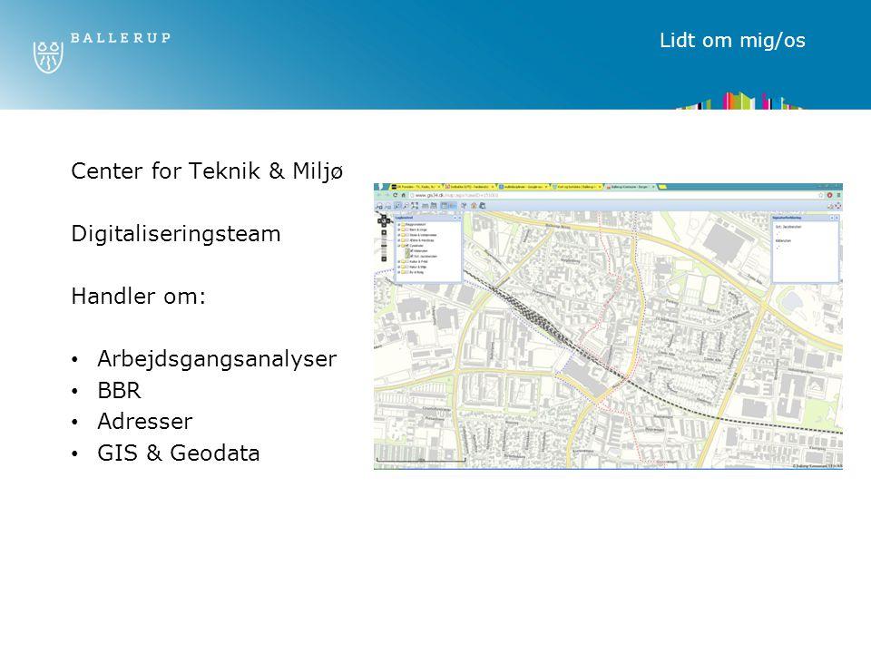 Center for Teknik & Miljø Digitaliseringsteam Handler om:
