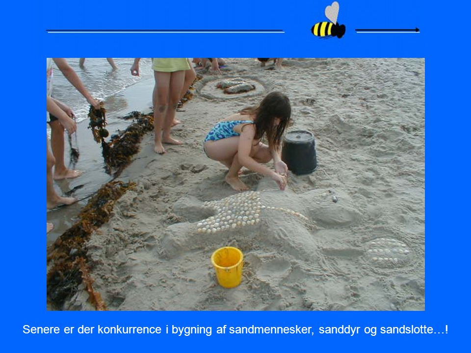 Senere er der konkurrence i bygning af sandmennesker, sanddyr og sandslotte…!