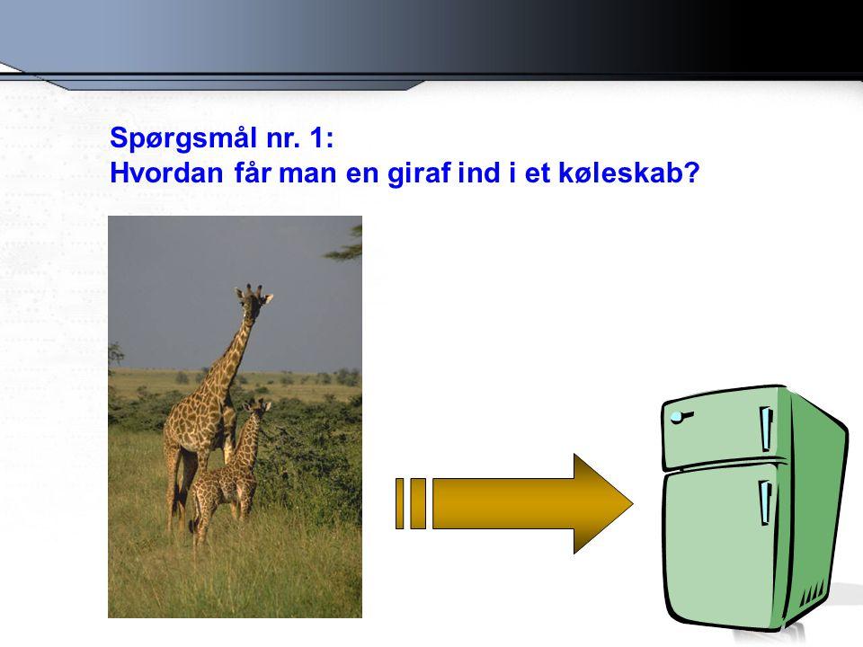Spørgsmål nr. 1: Hvordan får man en giraf ind i et køleskab