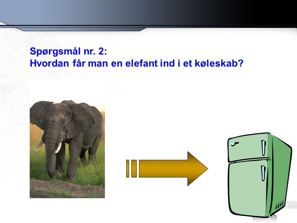 Spørgsmål nr. 2: Hvordan får man en elefant ind i et køleskab