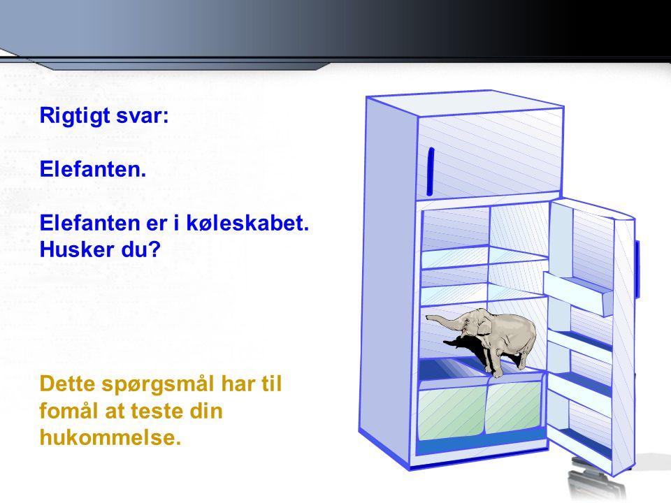 Rigtigt svar: Elefanten. Elefanten er i køleskabet.