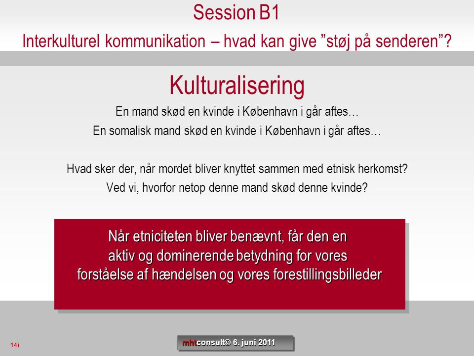 Session B1 Interkulturel kommunikation – hvad kan give støj på senderen