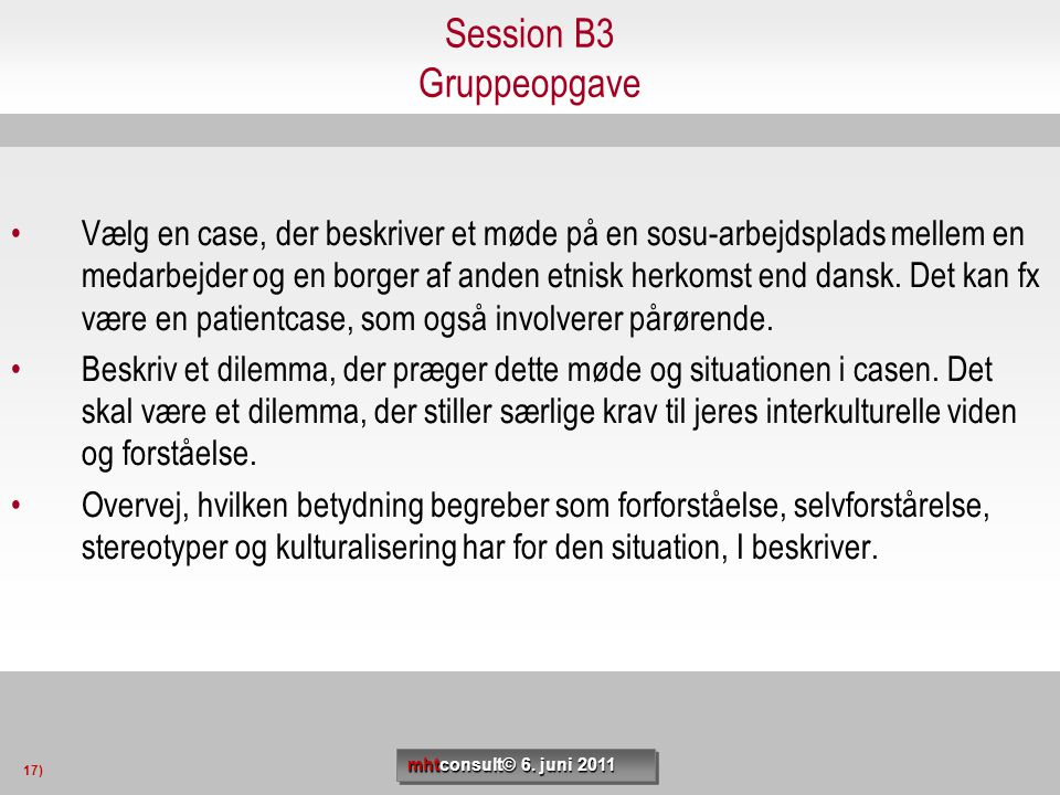 Session B3 Gruppeopgave