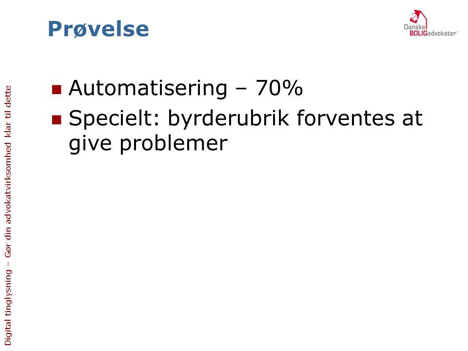 Prøvelse Automatisering – 70% Specielt: byrderubrik forventes at give problemer