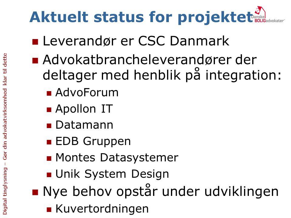 Aktuelt status for projektet