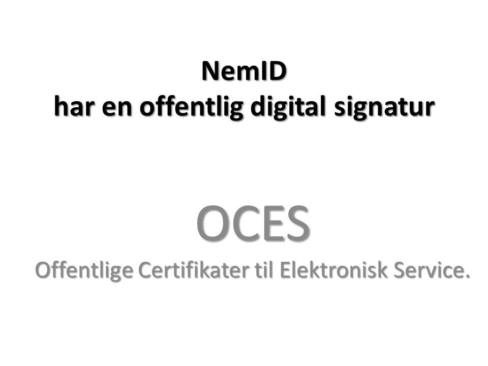 NemID har en offentlig digital signatur