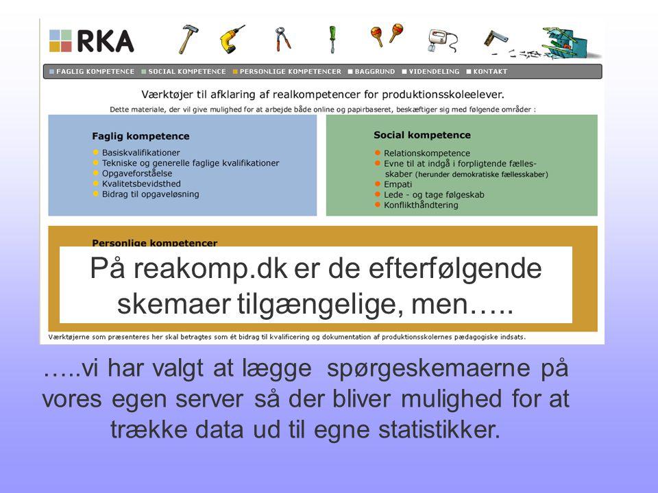 På reakomp.dk er de efterfølgende skemaer tilgængelige, men…..