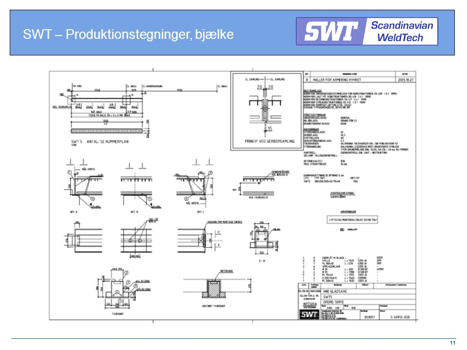 SWT – Produktionstegninger, bjælke