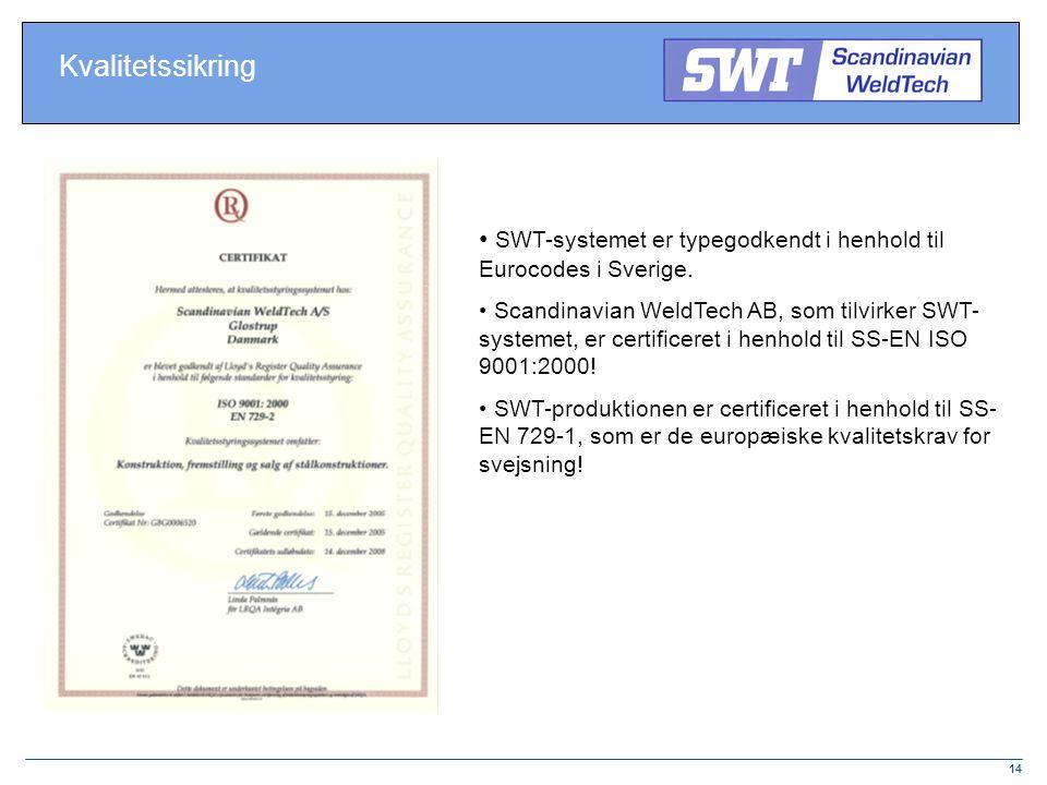 Kvalitetssikring SWT-systemet er typegodkendt i henhold til Eurocodes i Sverige.
