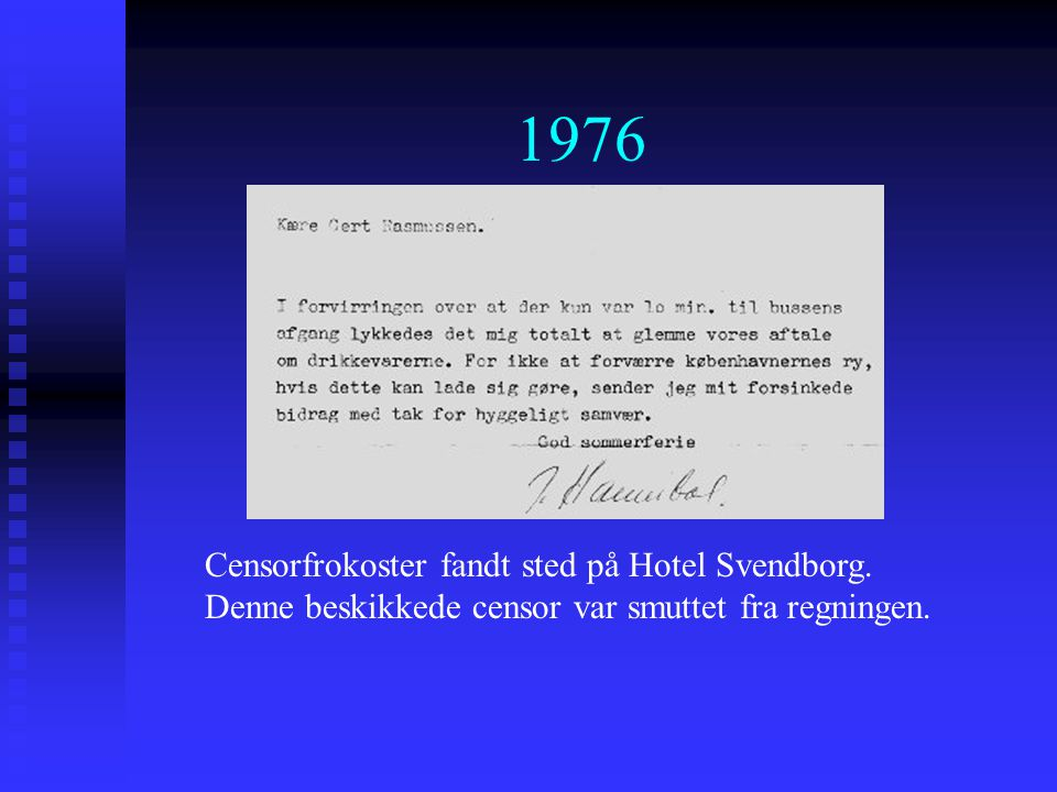 1976 Censorfrokoster fandt sted på Hotel Svendborg.