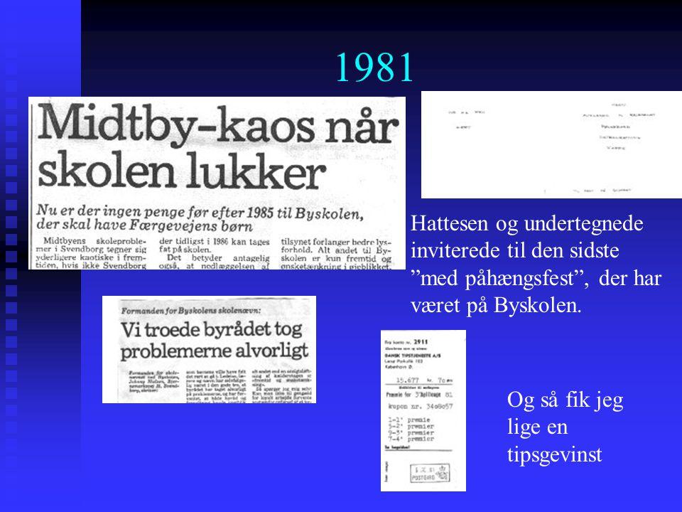 1981 Hattesen og undertegnede inviterede til den sidste med påhængsfest , der har været på Byskolen.