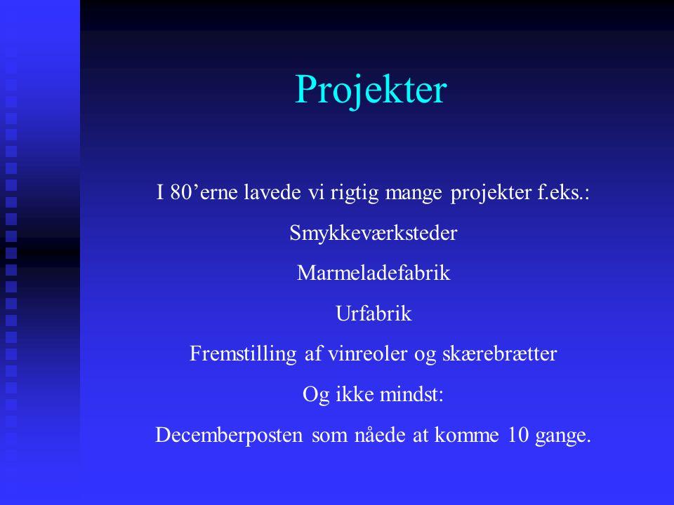Projekter I 80'erne lavede vi rigtig mange projekter f.eks.: