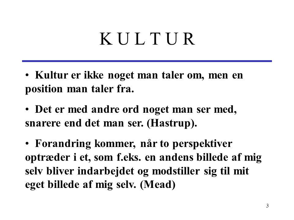 K U L T U R Kultur er ikke noget man taler om, men en position man taler fra.