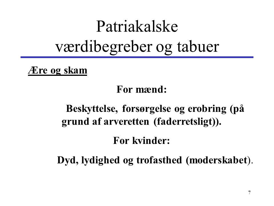 Patriakalske værdibegreber og tabuer