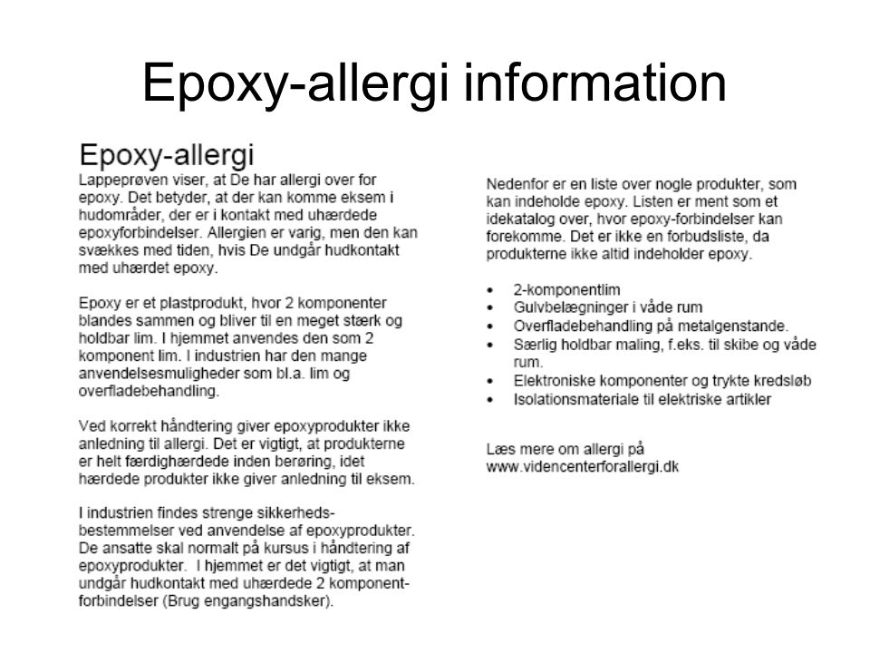 Epoxy-allergi information