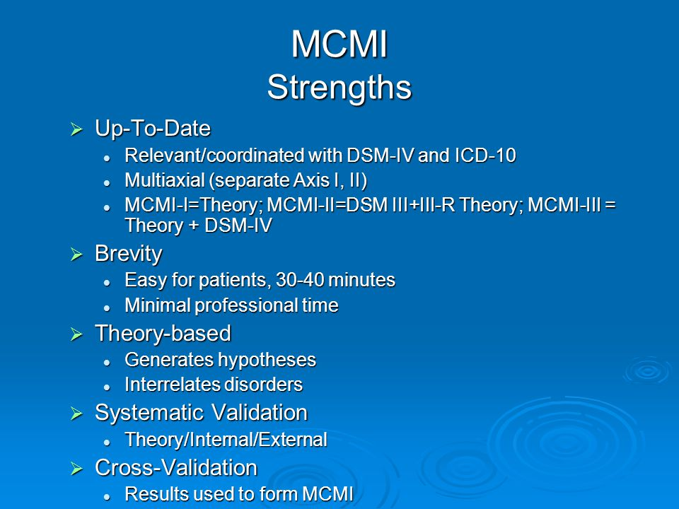 MCMI Strengths Up-To-Date Brevity Theory-based Systematic Validation