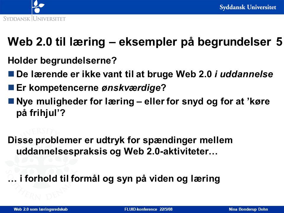 Web 2.0 til læring – eksempler på begrundelser 5