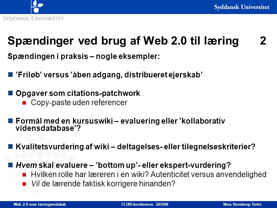 Spændinger ved brug af Web 2.0 til læring 2