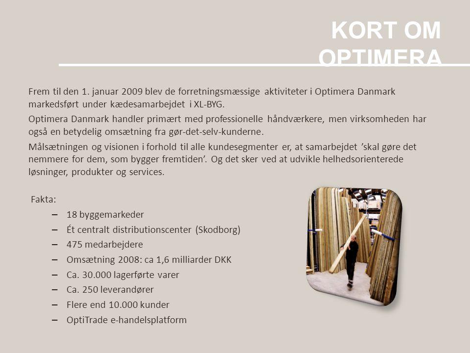 KORT OM OPTIMERA Frem til den 1. januar 2009 blev de forretningsmæssige aktiviteter i Optimera Danmark markedsført under kædesamarbejdet i XL-BYG.