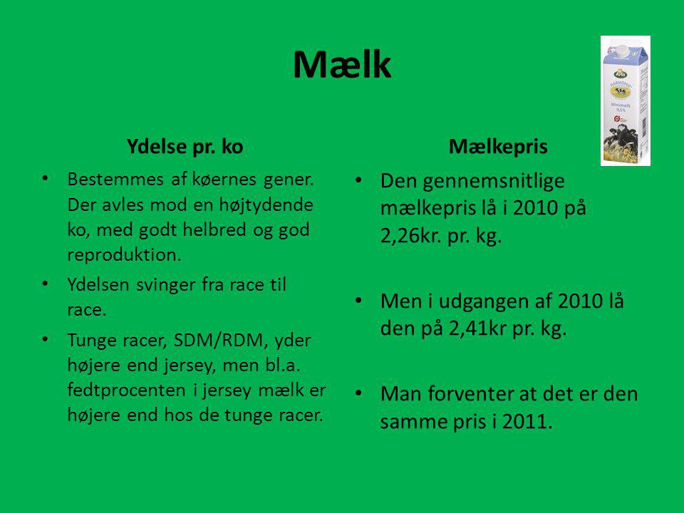 Mælk Ydelse pr. ko Mælkepris