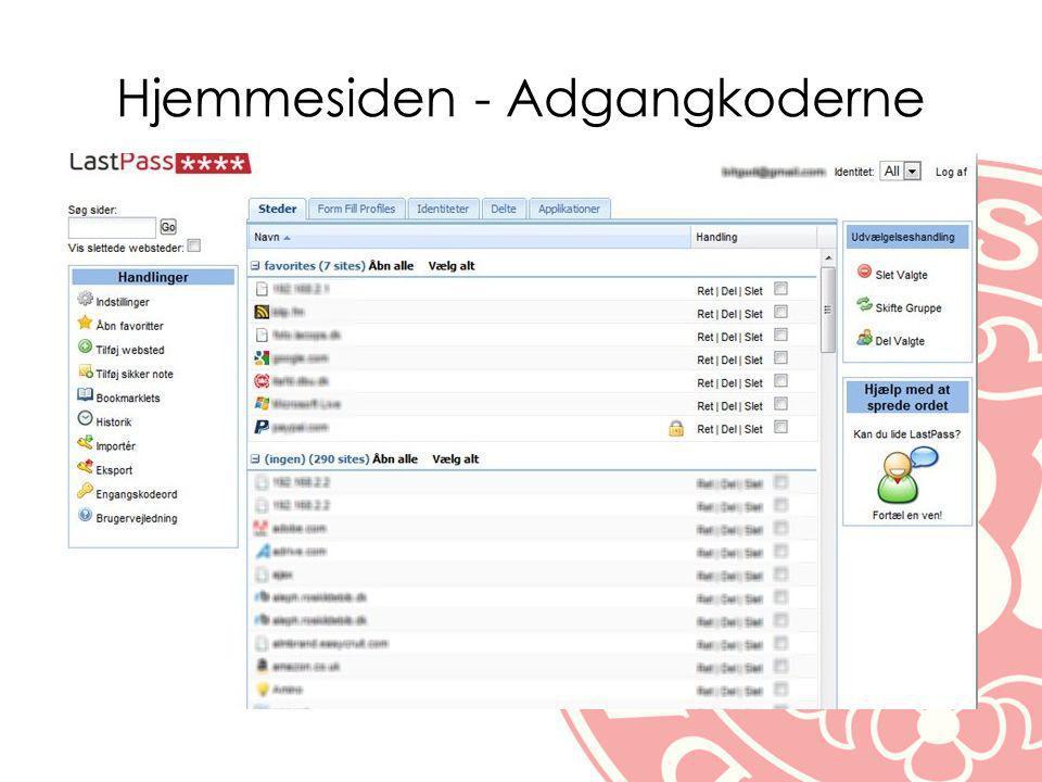 Hjemmesiden - Adgangkoderne