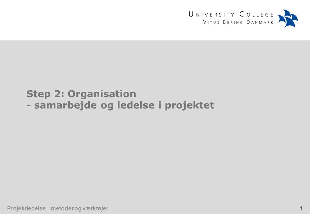 Step 2: Organisation - samarbejde og ledelse i projektet