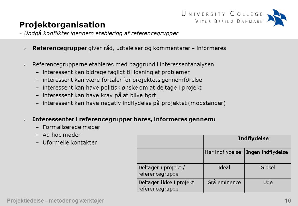Projektorganisation - Undgå konflikter igennem etablering af referencegrupper