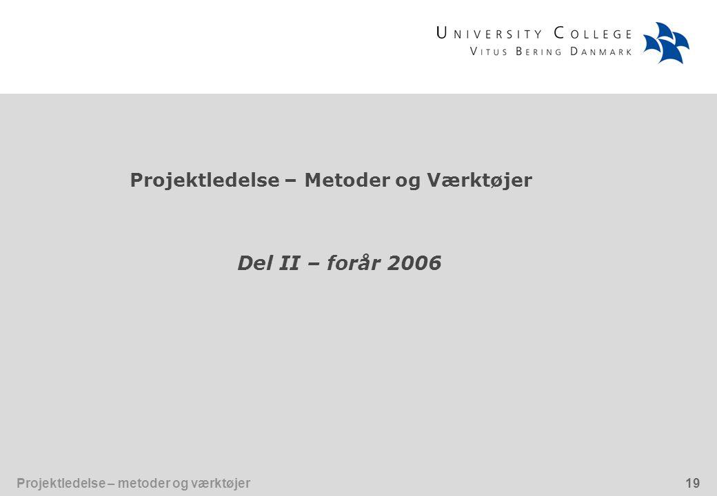Projektledelse – Metoder og Værktøjer