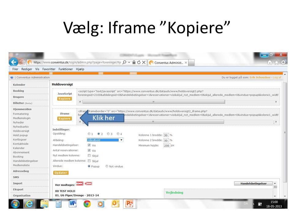 Vælg: Iframe Kopiere