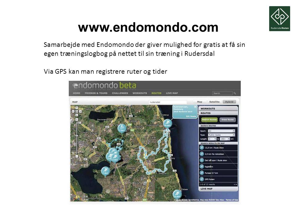www.endomondo.com Samarbejde med Endomondo der giver mulighed for gratis at få sin egen træningslogbog på nettet til sin træning i Rudersdal.