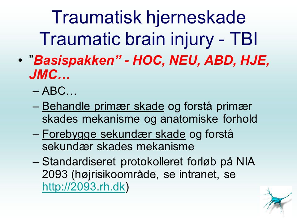 Traumatisk hjerneskade Traumatic brain injury - TBI