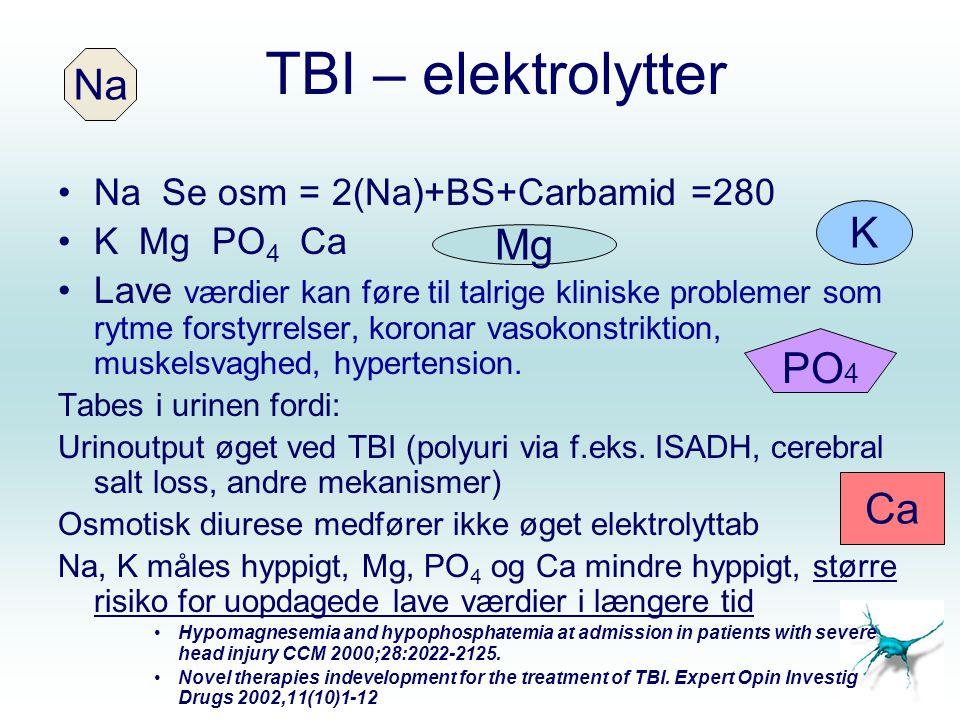 TBI – elektrolytter Na K Mg PO4 Ca Na Se osm = 2(Na)+BS+Carbamid =280
