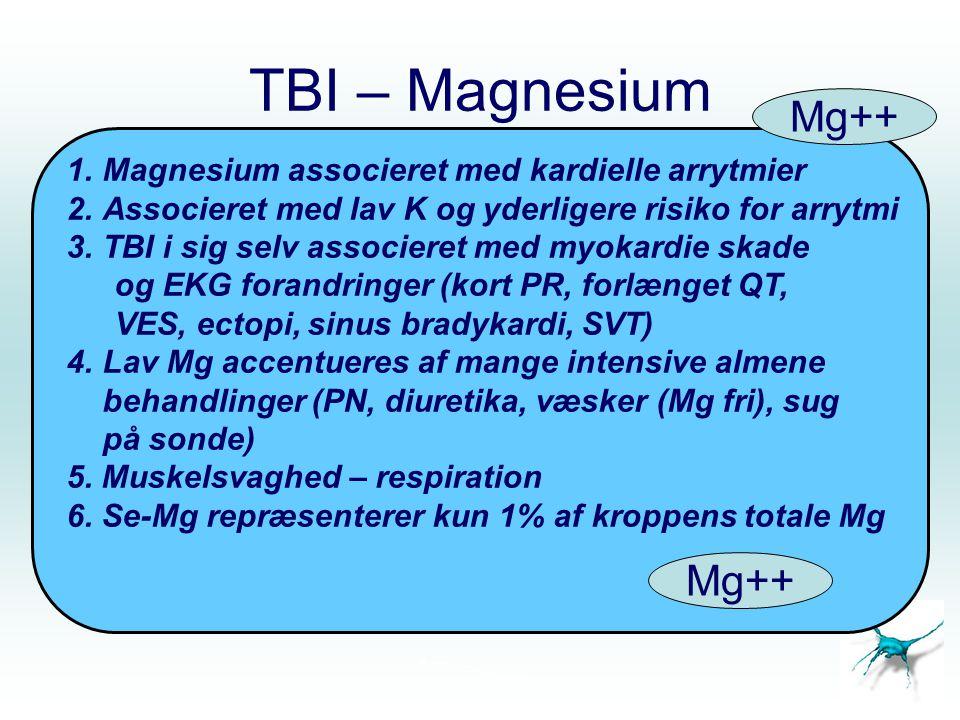 TBI – Magnesium Mg++ Mg++ Magnesium associeret med kardielle arrytmier
