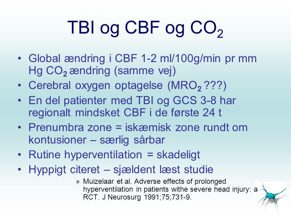 TBI og CBF og CO2 Global ændring i CBF 1-2 ml/100g/min pr mm Hg CO2 ændring (samme vej) Cerebral oxygen optagelse (MRO2 )