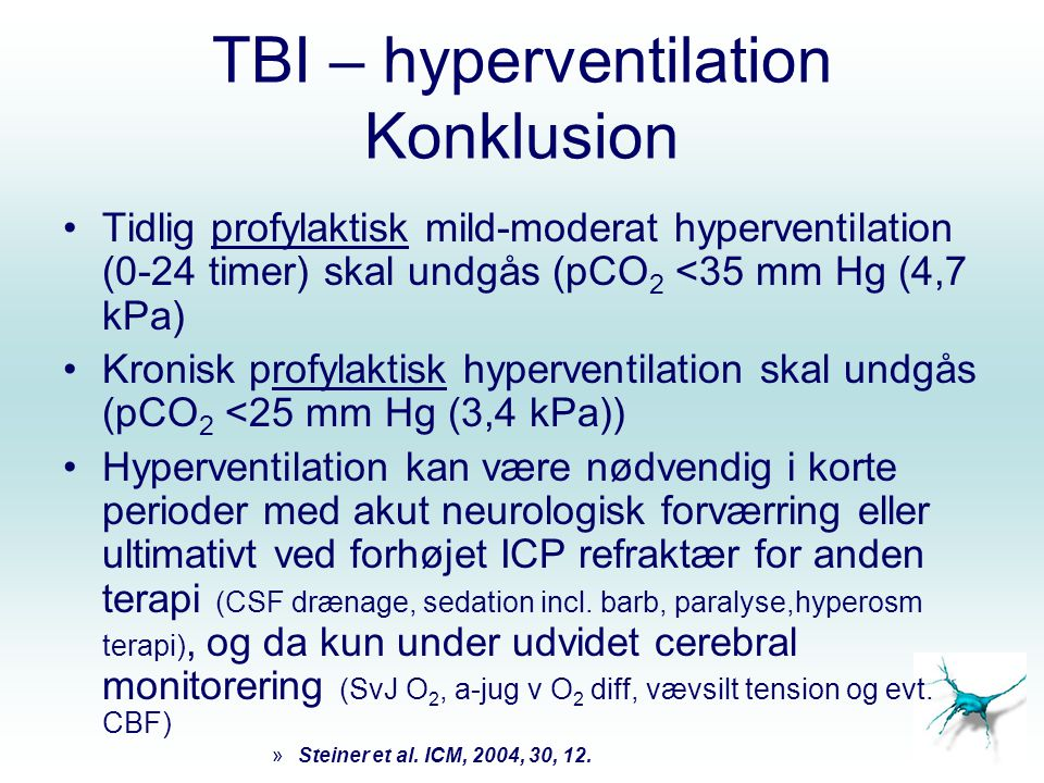TBI – hyperventilation Konklusion