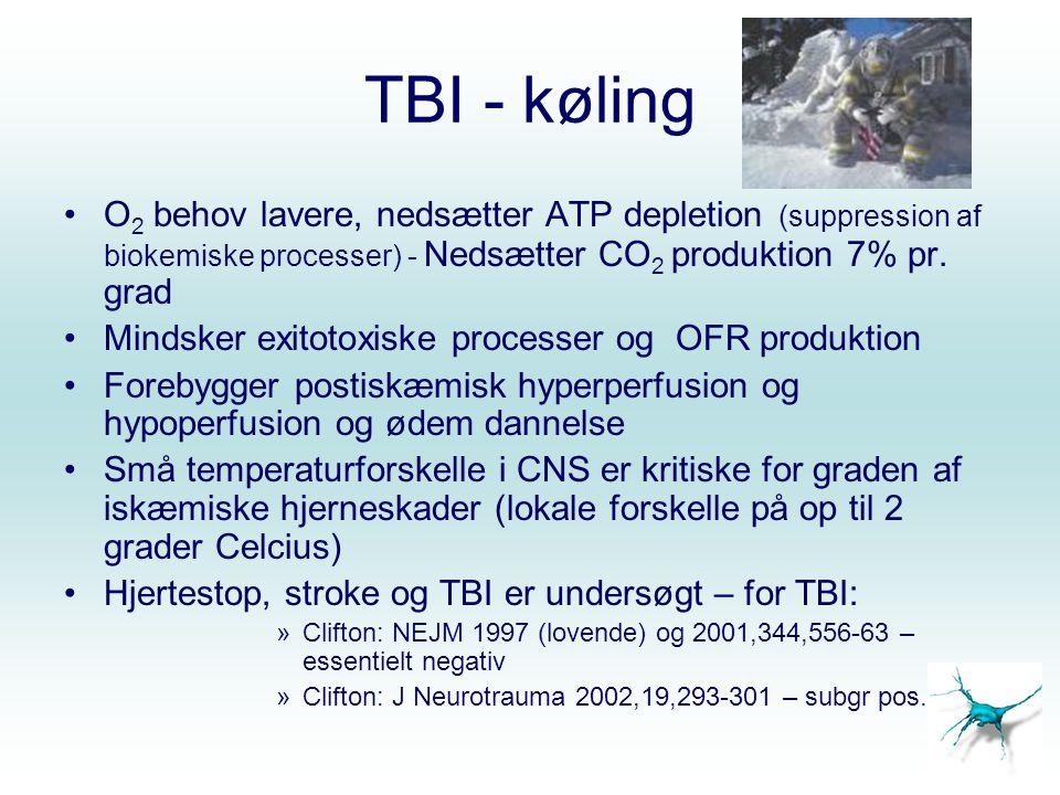 TBI - køling O2 behov lavere, nedsætter ATP depletion (suppression af biokemiske processer) - Nedsætter CO2 produktion 7% pr. grad.