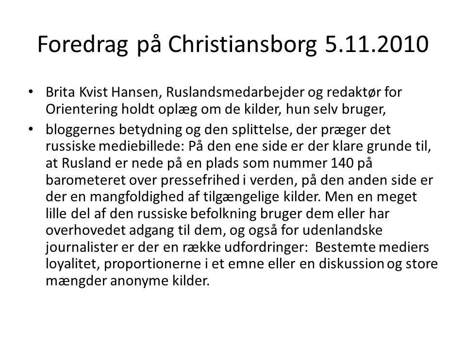 Foredrag på Christiansborg 5.11.2010