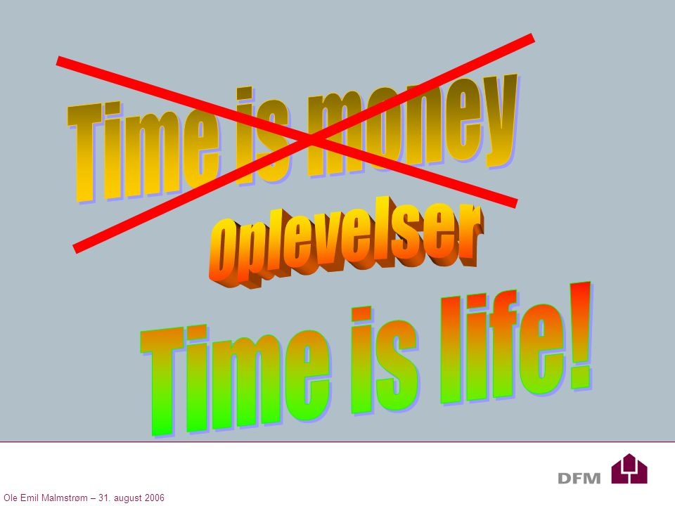 Time is money Oplevelser Time is life!
