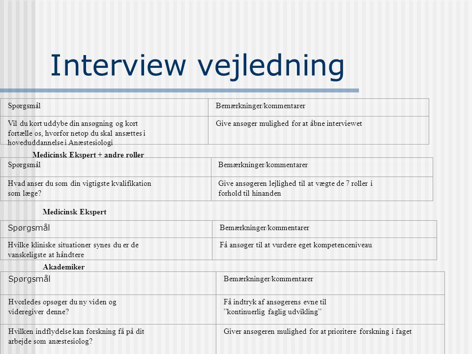 Interview vejledning Spørgsmål Bemærkninger/kommentarer