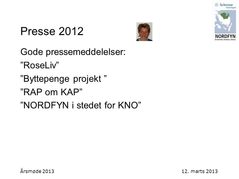 Presse 2012 Gode pressemeddelelser: RoseLiv Byttepenge projekt