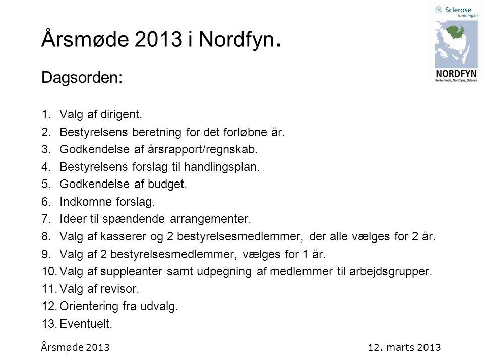 Årsmøde 2013 i Nordfyn. Dagsorden: Valg af dirigent.