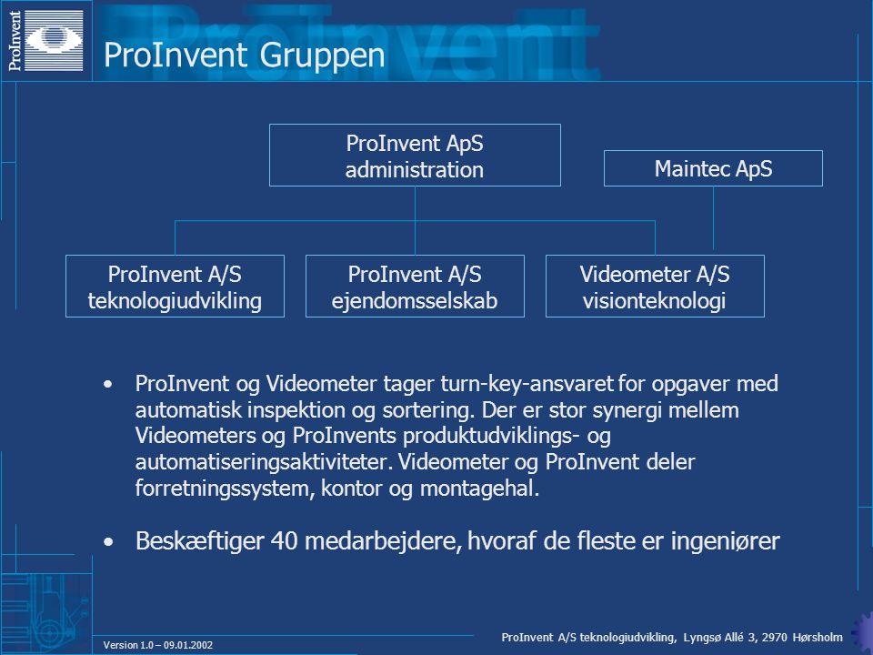 ProInvent Gruppen ProInvent ApS administration. Maintec ApS. ProInvent A/S teknologiudvikling. ProInvent A/S ejendomsselskab.