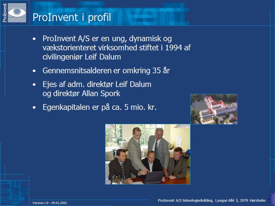 ProInvent i profil ProInvent A/S er en ung, dynamisk og vækstorienteret virksomhed stiftet i 1994 af civilingeniør Leif Dalum.