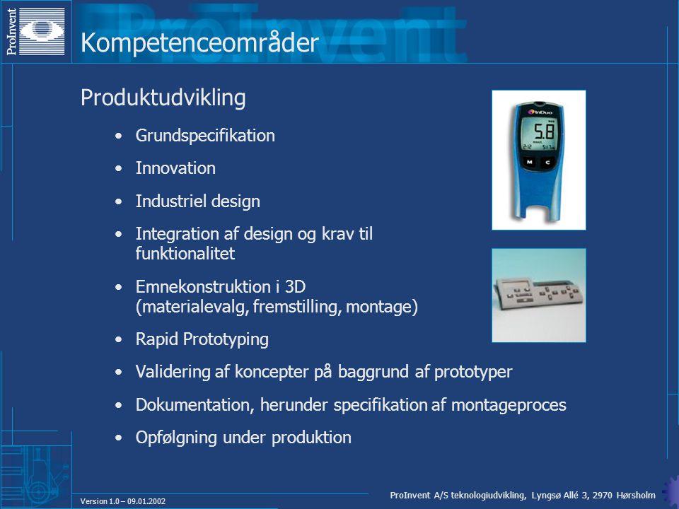 Kompetenceområder Produktudvikling Grundspecifikation Innovation