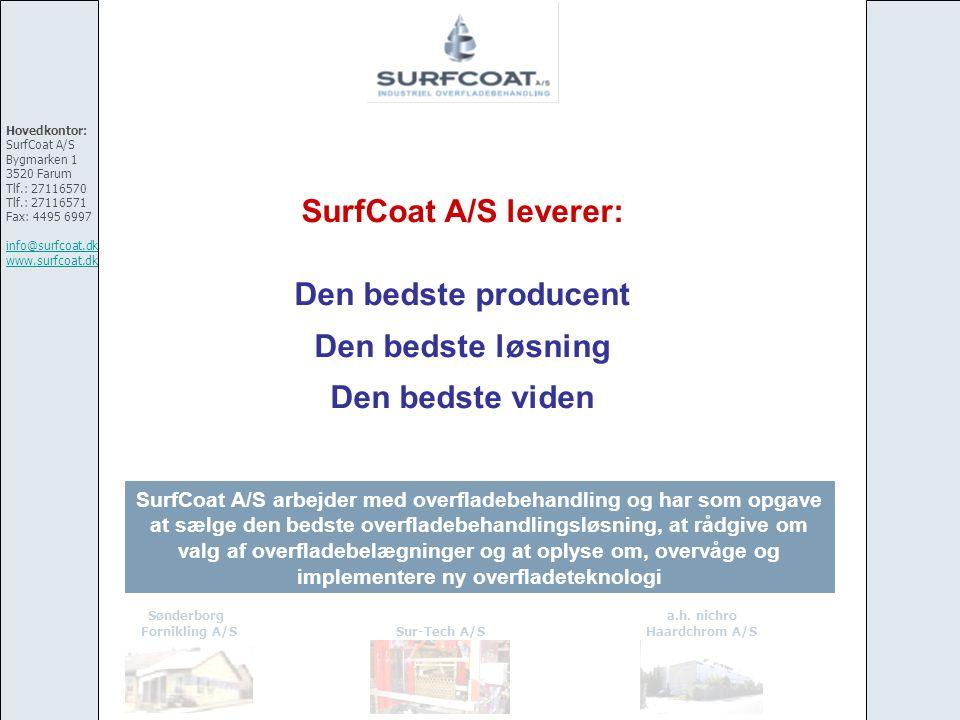 SurfCoat A/S leverer: Den bedste producent Den bedste løsning