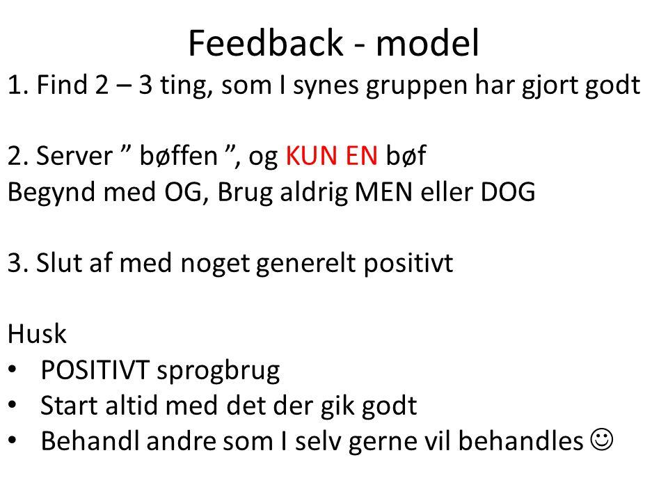 Feedback - model 1. Find 2 – 3 ting, som I synes gruppen har gjort godt. 2. Server bøffen , og KUN EN bøf.