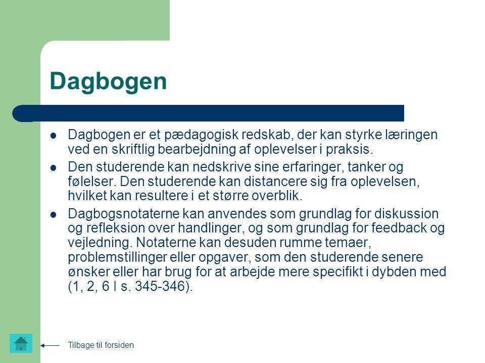 Dagbogen Dagbogen er et pædagogisk redskab, der kan styrke læringen ved en skriftlig bearbejdning af oplevelser i praksis.