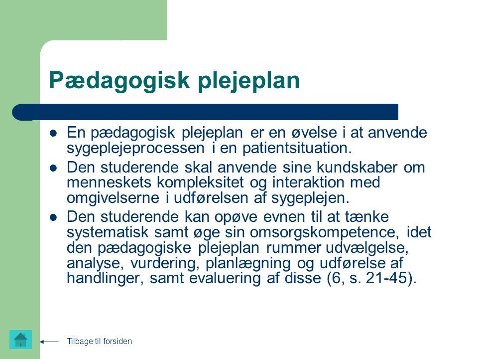 Pædagogisk plejeplan En pædagogisk plejeplan er en øvelse i at anvende sygeplejeprocessen i en patientsituation.