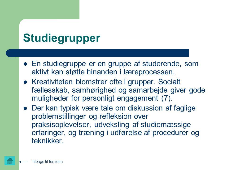 Studiegrupper En studiegruppe er en gruppe af studerende, som aktivt kan støtte hinanden i læreprocessen.